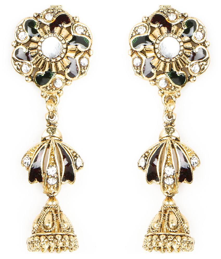 Johareez Multicolour Brass Jhumki Earrings