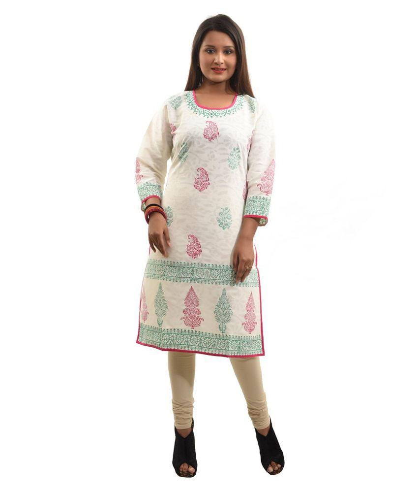 Adiari Fashion White Cotton Kurti