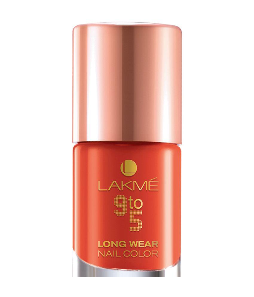 Gel Nail Polish Lakme: Lakme 9 To 5 Long Wear Orange Nail Paint