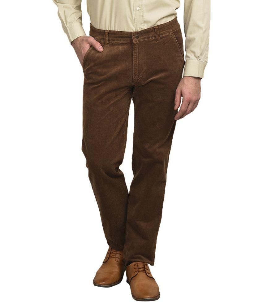 Ruace Brown Regular Fit Casual Flat Trouser