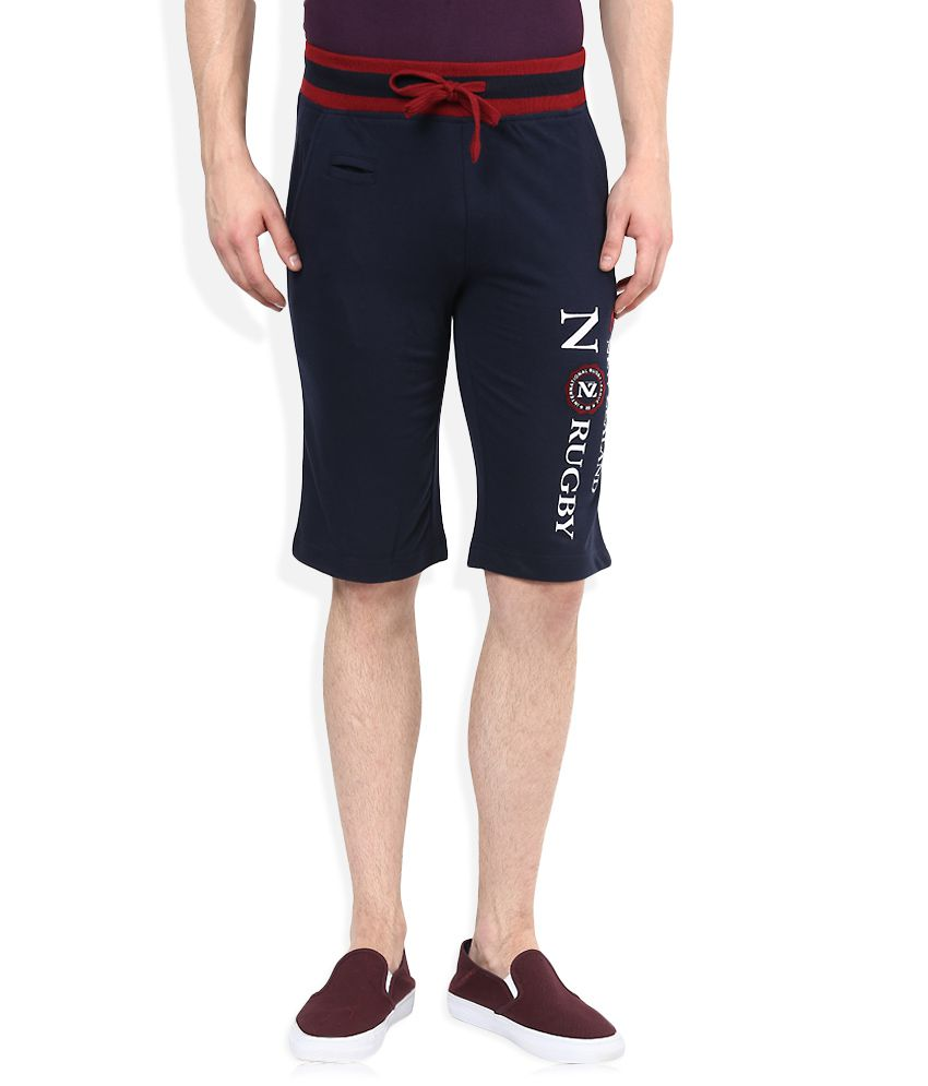 SDL By Sweet Dreams Navy Blue Solid Shorts