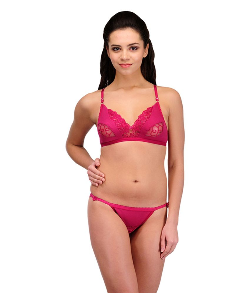 ad4e814ee61b7 Urbaano Pink Cotton Bridal Bra amp  Panty Set available at SnapDeal for Rs .309