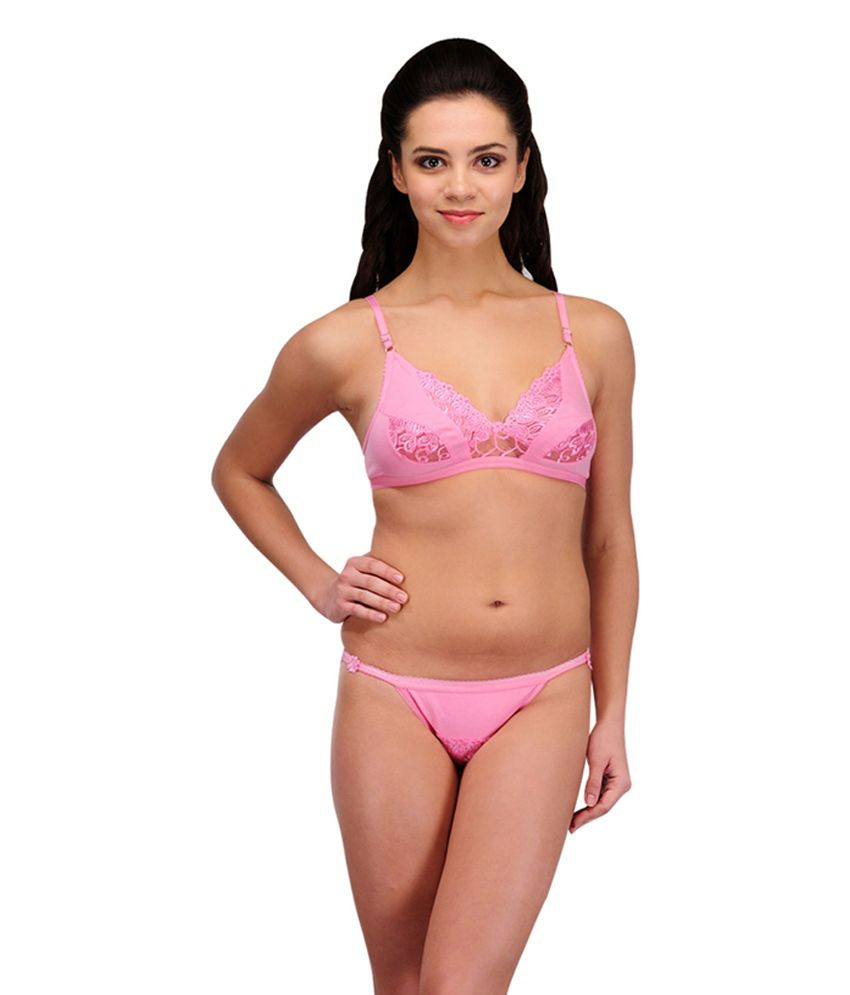 a17d3fa307 Buy Urbaano Pink Cotton Bridal Bra   Panty Set Online at Best Prices in  India - Snapdeal