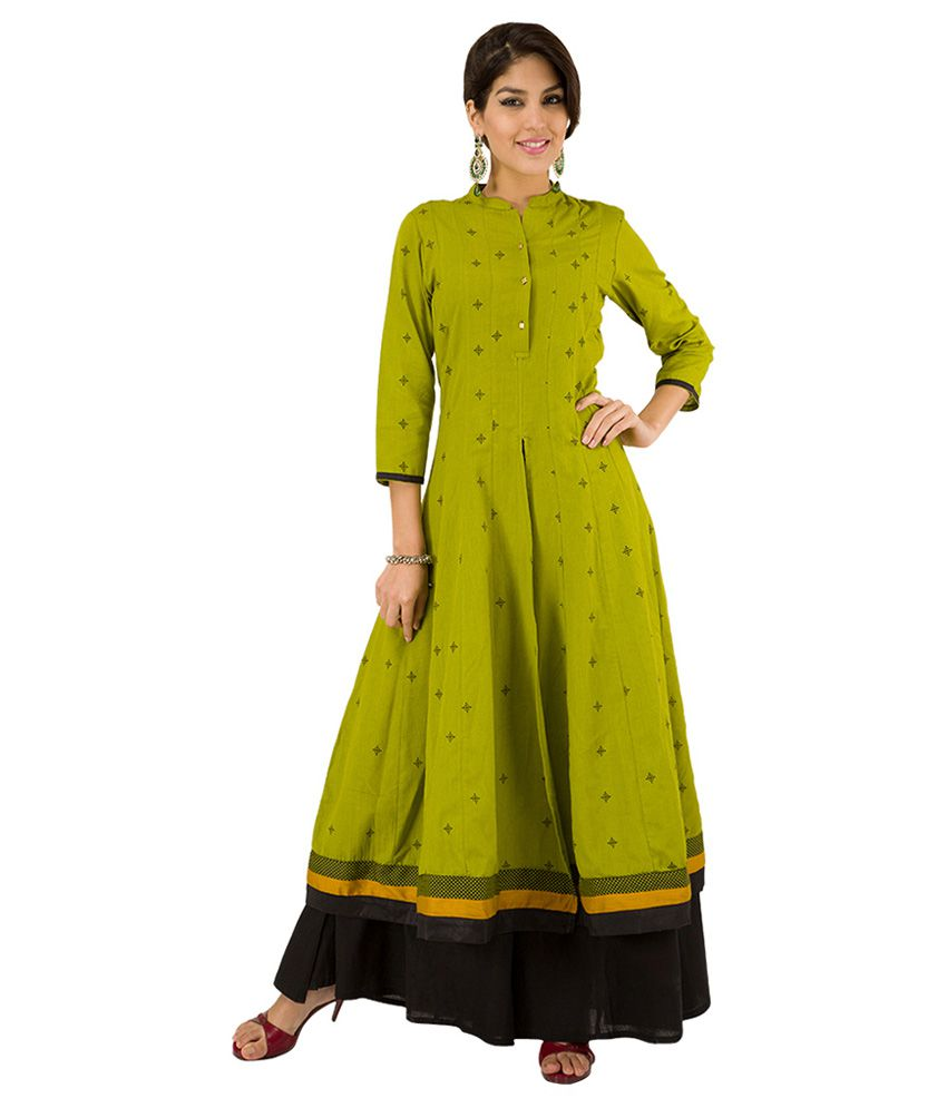 9898c5d0e Vishudh Green   Black Printed Kurta With Flared Palazzos - Buy Vishudh  Green   Black Printed Kurta With Flared Palazzos Online at Low Price -  Snapdeal.com