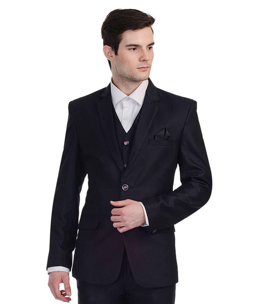 Luxurazi Black Rayon 3 Piece Suit
