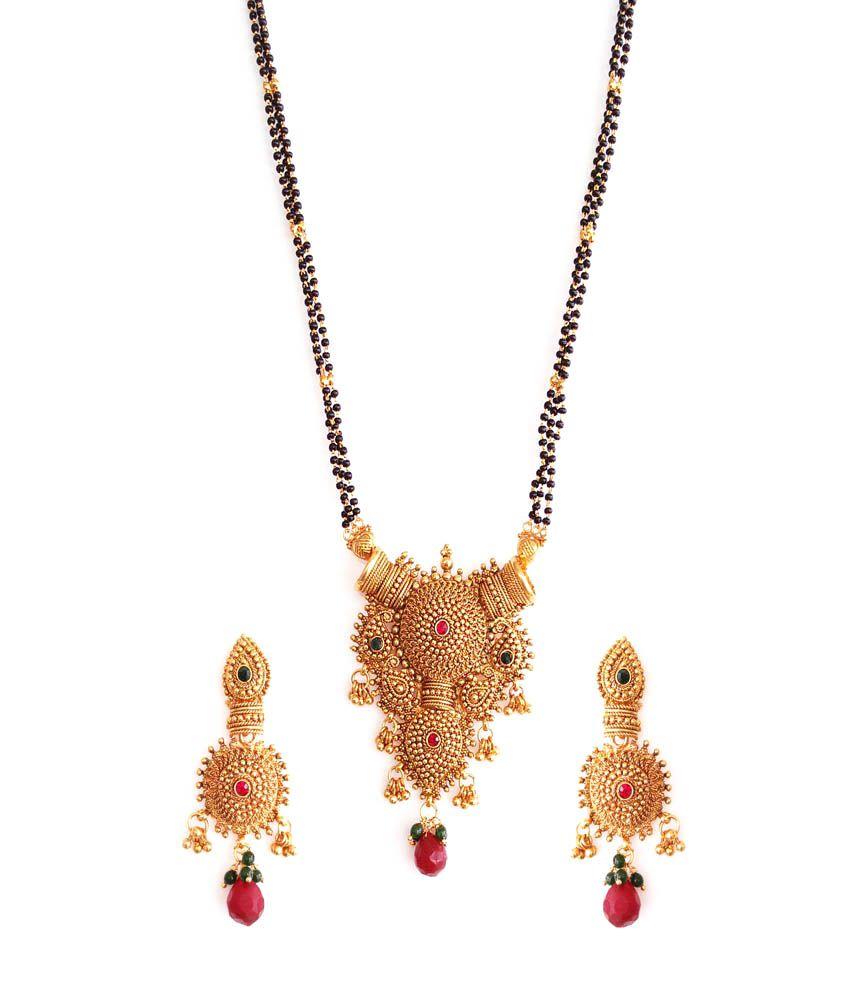 Ooh Chhori Fashion Black Alloy Crystal Mangalsutra