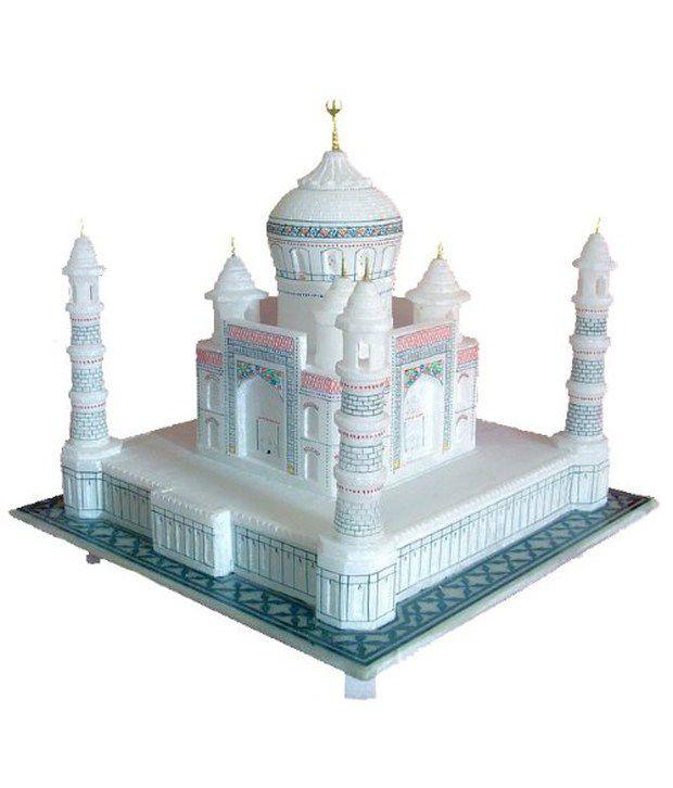 Pooja Creation White Marble Handmade Taj Mahal 15.24 Cm