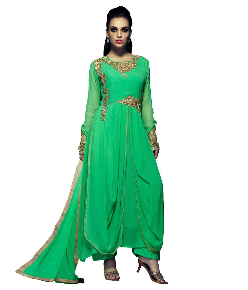 Shelina Green Faux Georgette Semi Stitched Dress Material