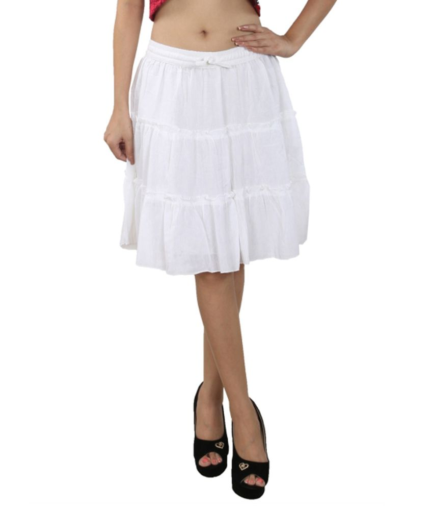 Anuze Fashions White Cotton Skirt