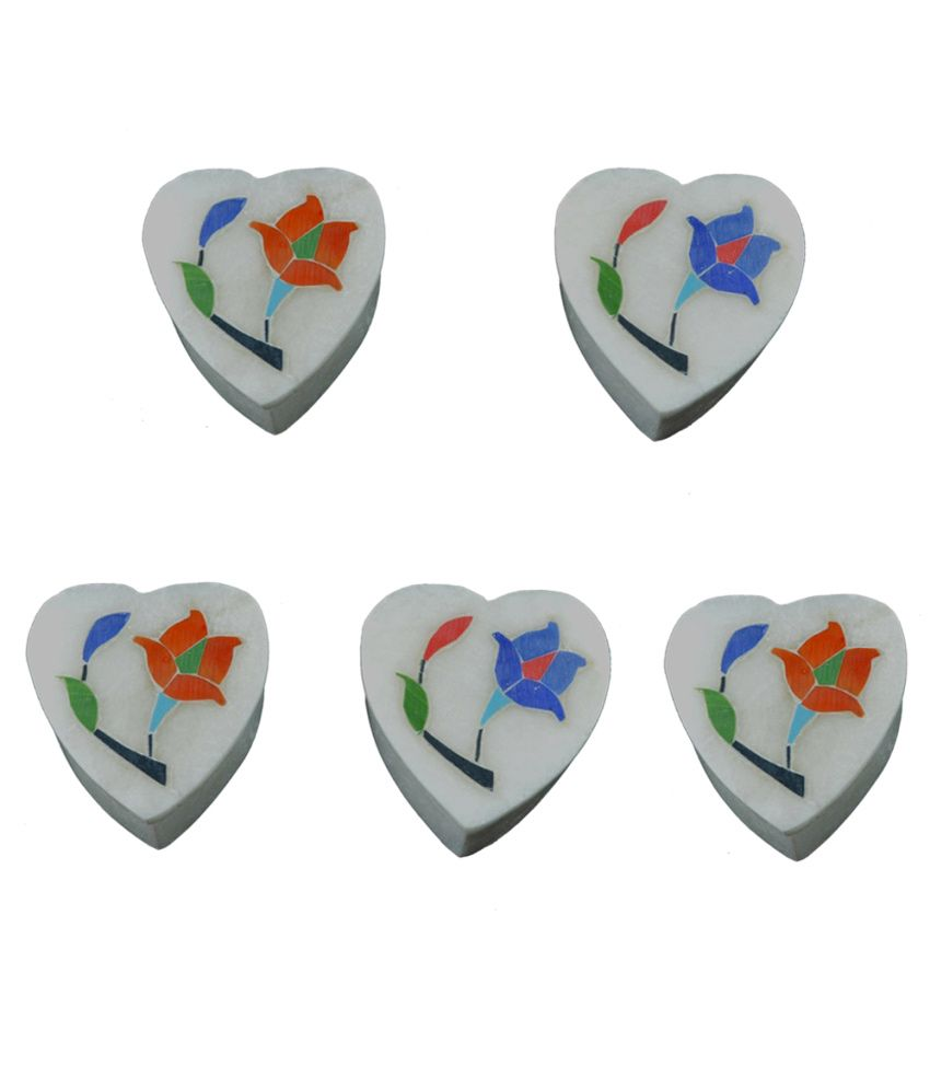 Craftuno Handcrafted Heart Shaped Marble Box - Set Of 5