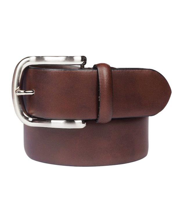 Leather Plus Brown Formal Single Belt For Men