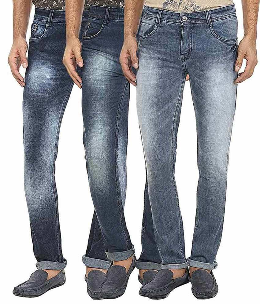 99 Degrees Blue Slim Fit Jeans Pack Of 3