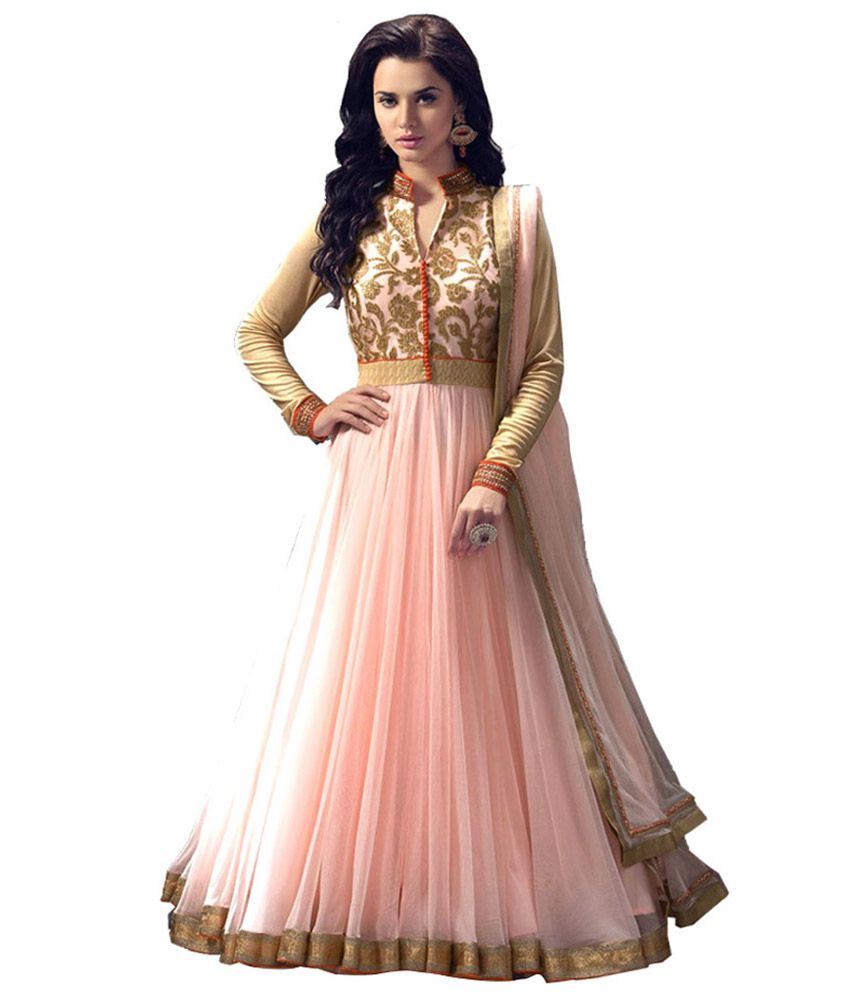 my style peach net anarkali unstitched dress material. Black Bedroom Furniture Sets. Home Design Ideas