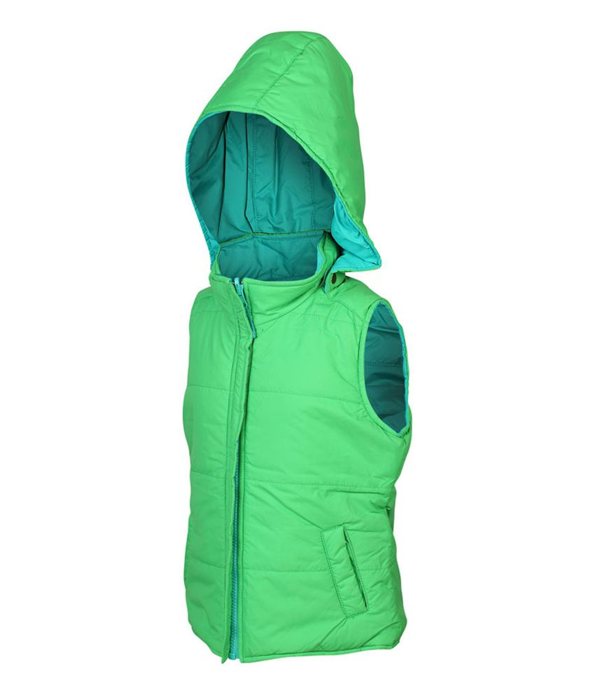 ELLO Green Sleeveless With Hood Reversible Jacket