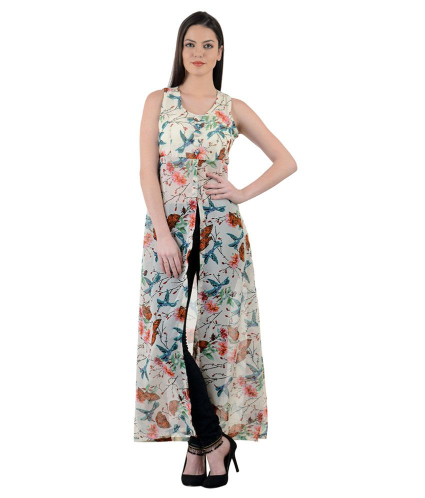 87853531956 Raabtaa White Floral Front-Open Maxi Dress - Buy Raabtaa White Floral  Front-Open Maxi Dress Online at Best Prices in India on Snapdeal
