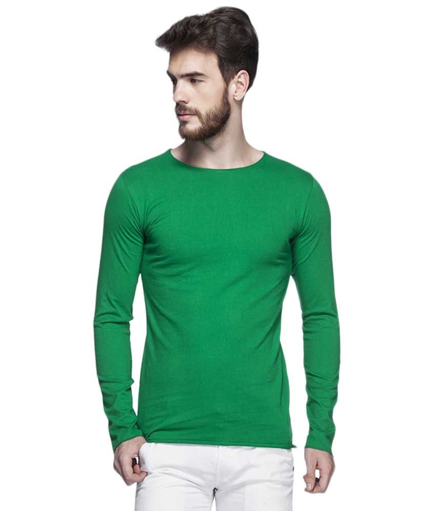 Tinted Dark Green Solid Round Neck T Shirt