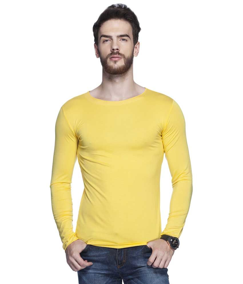 Tinted Yellow Solid Round Neck T Shirt