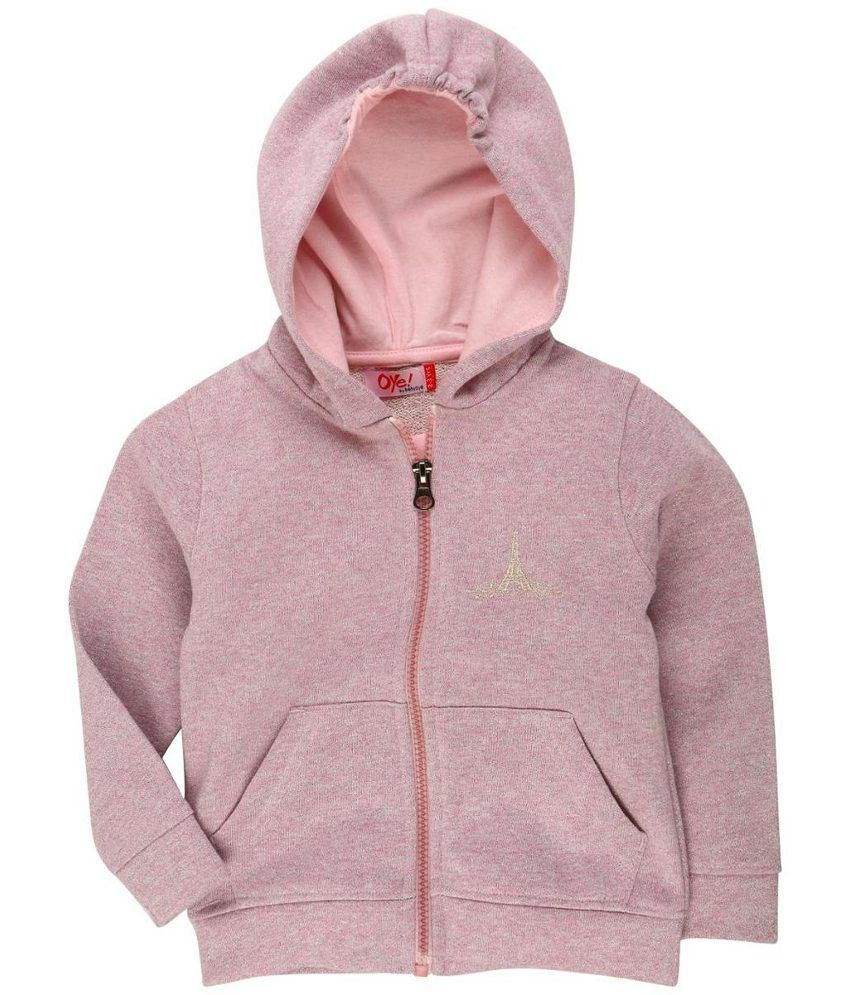 Oye Pink Blended Cotton Hooded Windcheaters