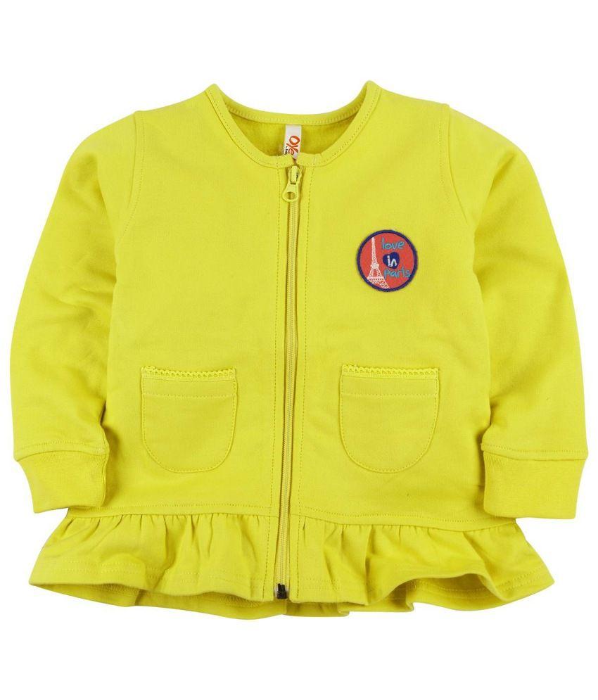 Oye Yellow Fleece Zipper Sweatshirt
