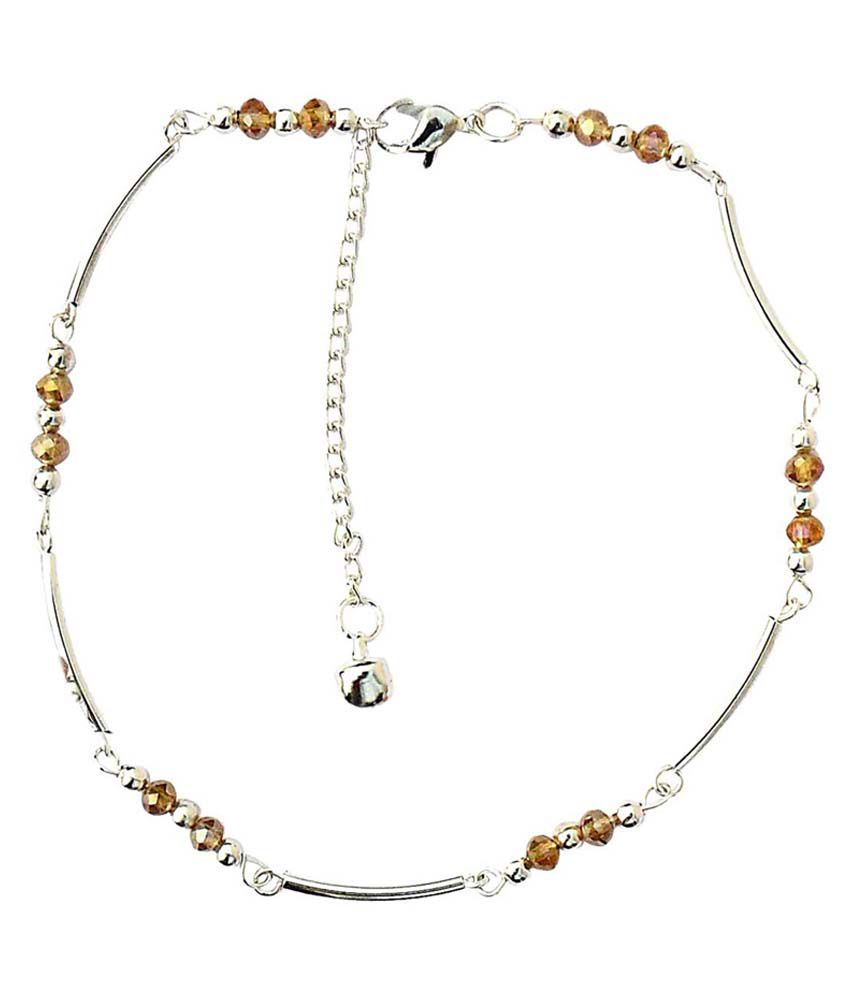 Beadworks Golden Alloy Pair Of Anklets