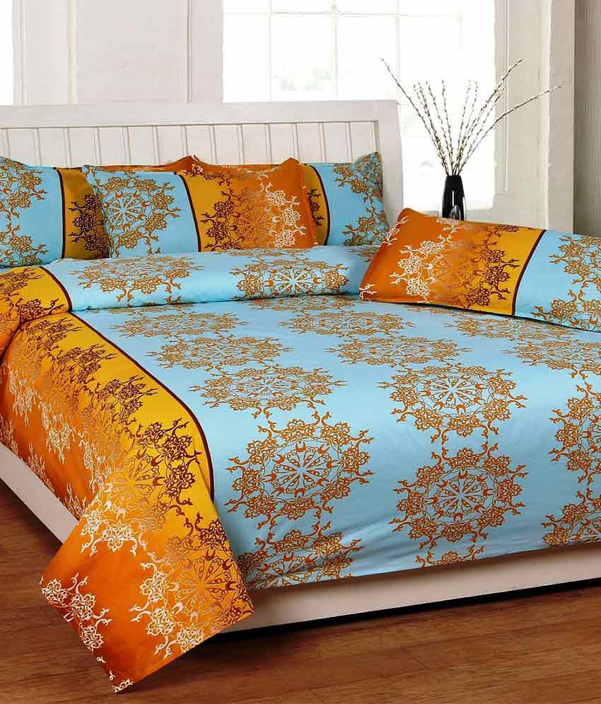 Best Deal Best Deal Multicolour Printed Cotton Double Bedsheet With Two Pillow Covers