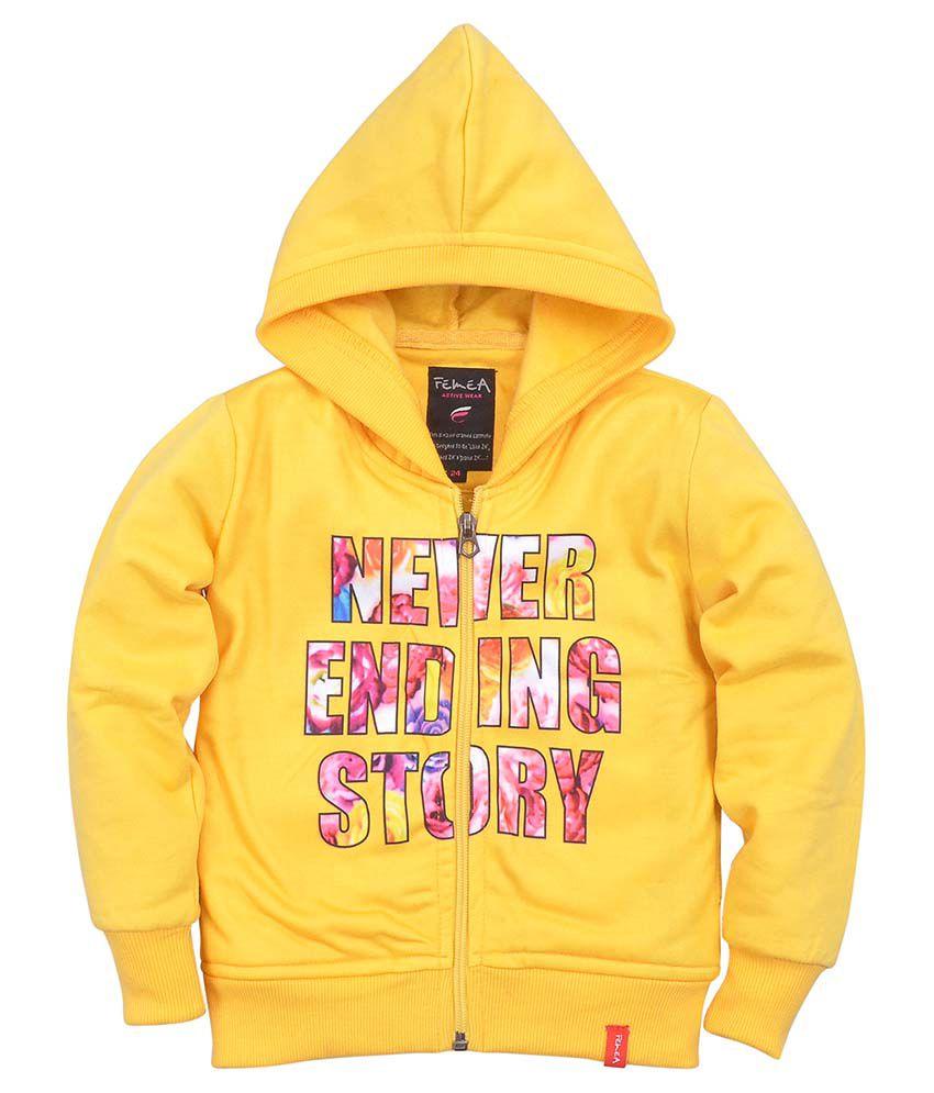 Femea Yellow Fleece Sweatshirt With Hood