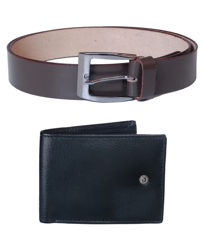 Jollify Brown Leather Belt With Wallet For Men