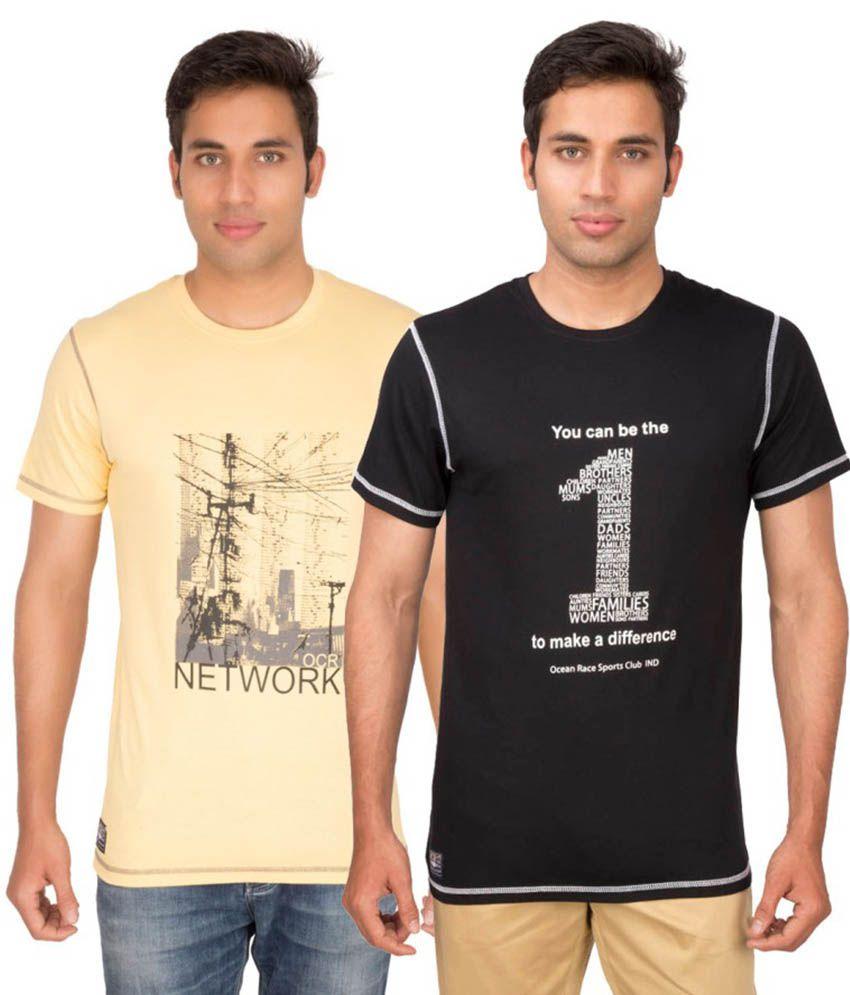 Ocean Race Multicolour Cotton T-shirt Pack Of 2