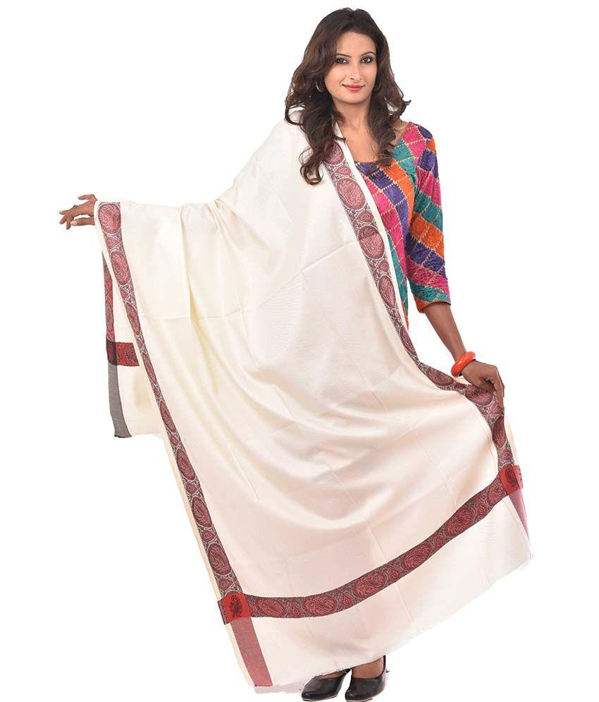 Weavers Villa White Faux Pashmina Silk Shawls