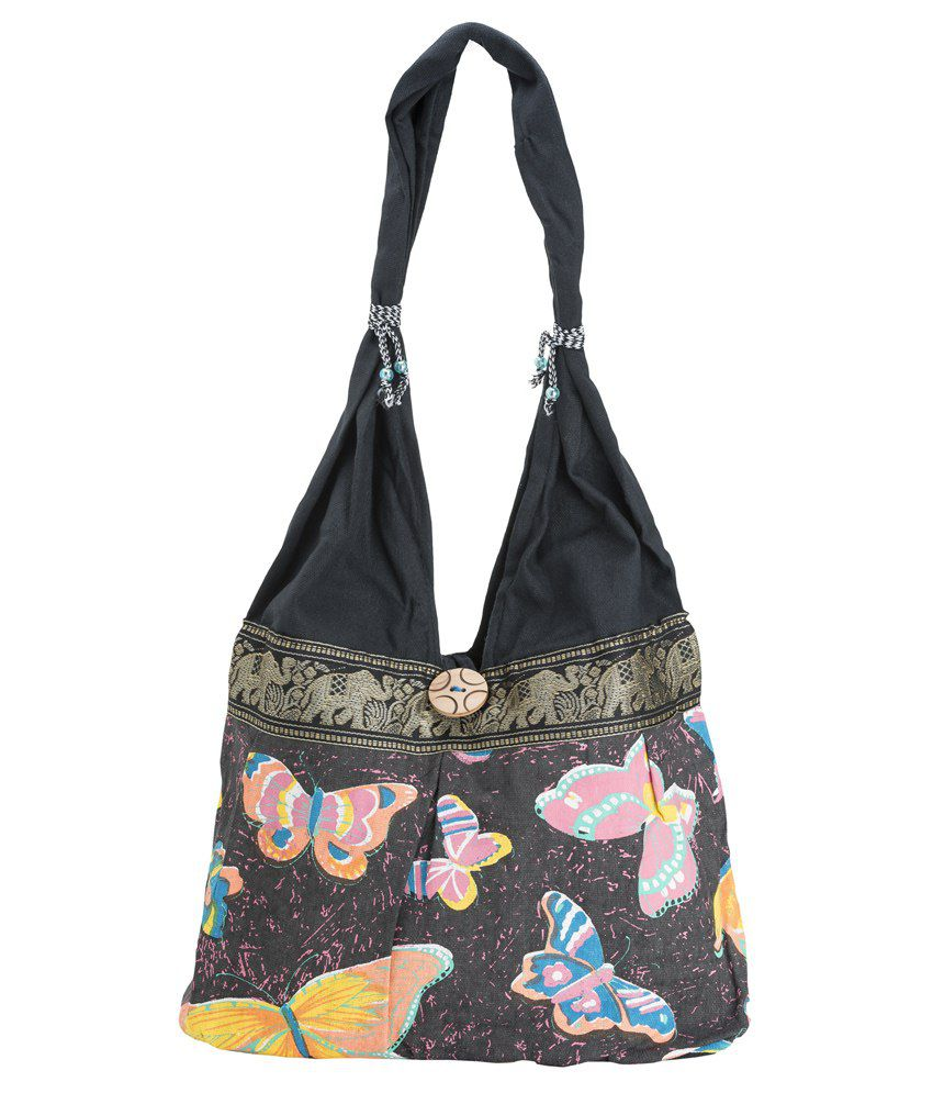 Fashiondrobe Butterfly Pattern Handbag-Black