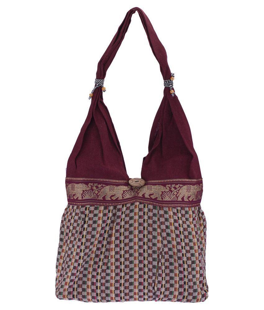 Fashiondrobe Small Box Pattern Handbag-Maroon