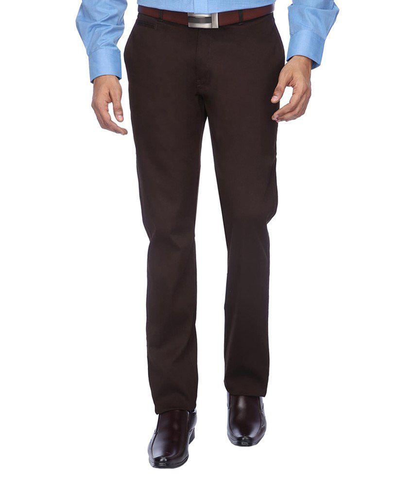 Meghdoot International Clothing Brown Slim Fit Formal Flat Trouser