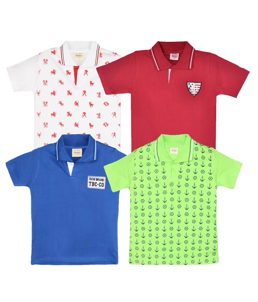 Tonyboy Multi Cotton T-Shirts For Boys - Pack Of 4