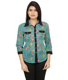 India Inc Green Poly Georgette Shirts