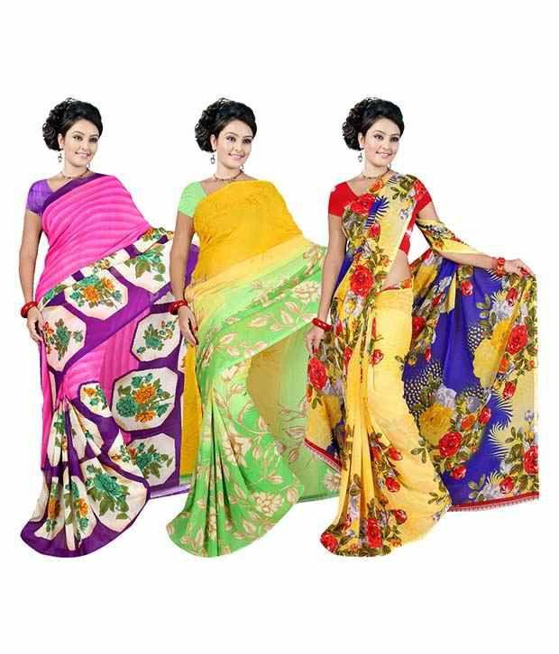 Garg Fashion multi Georgette Pack of 3