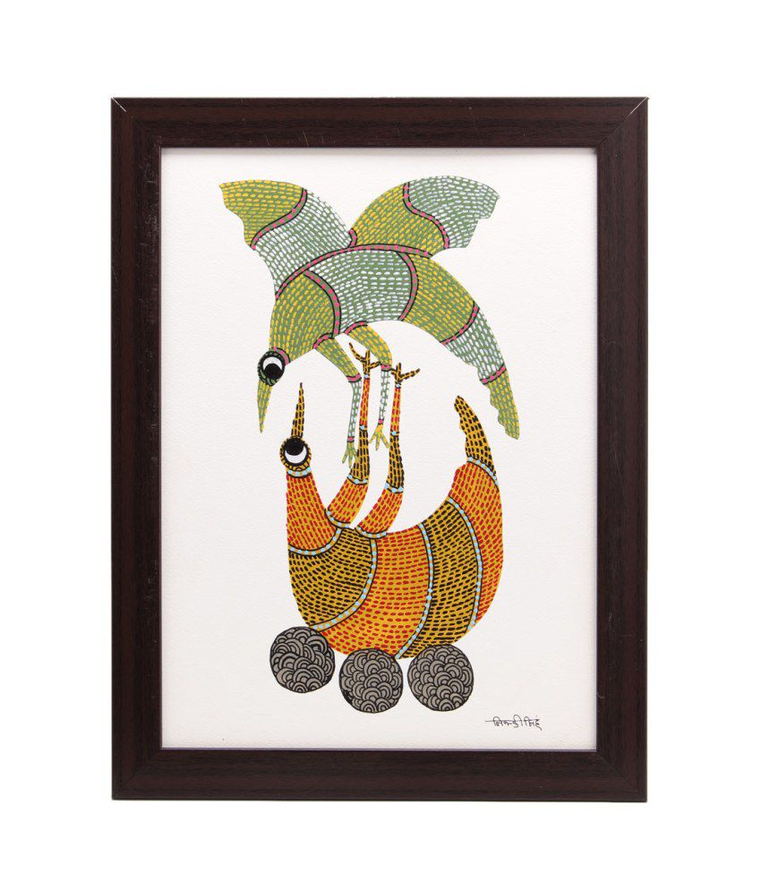 Tribes India Green and Yellow Acrylic Folk Art Painting