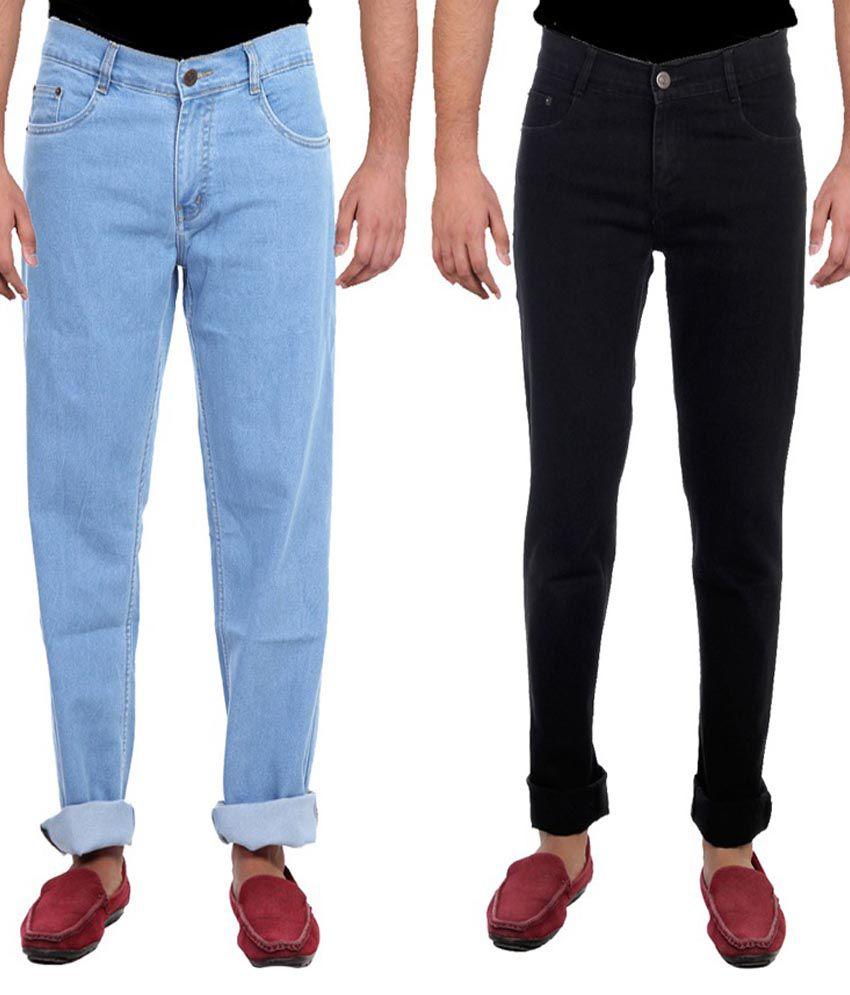 Ansh Fashion Wear Multicolor Slim Fit Jeans- Pack of 2