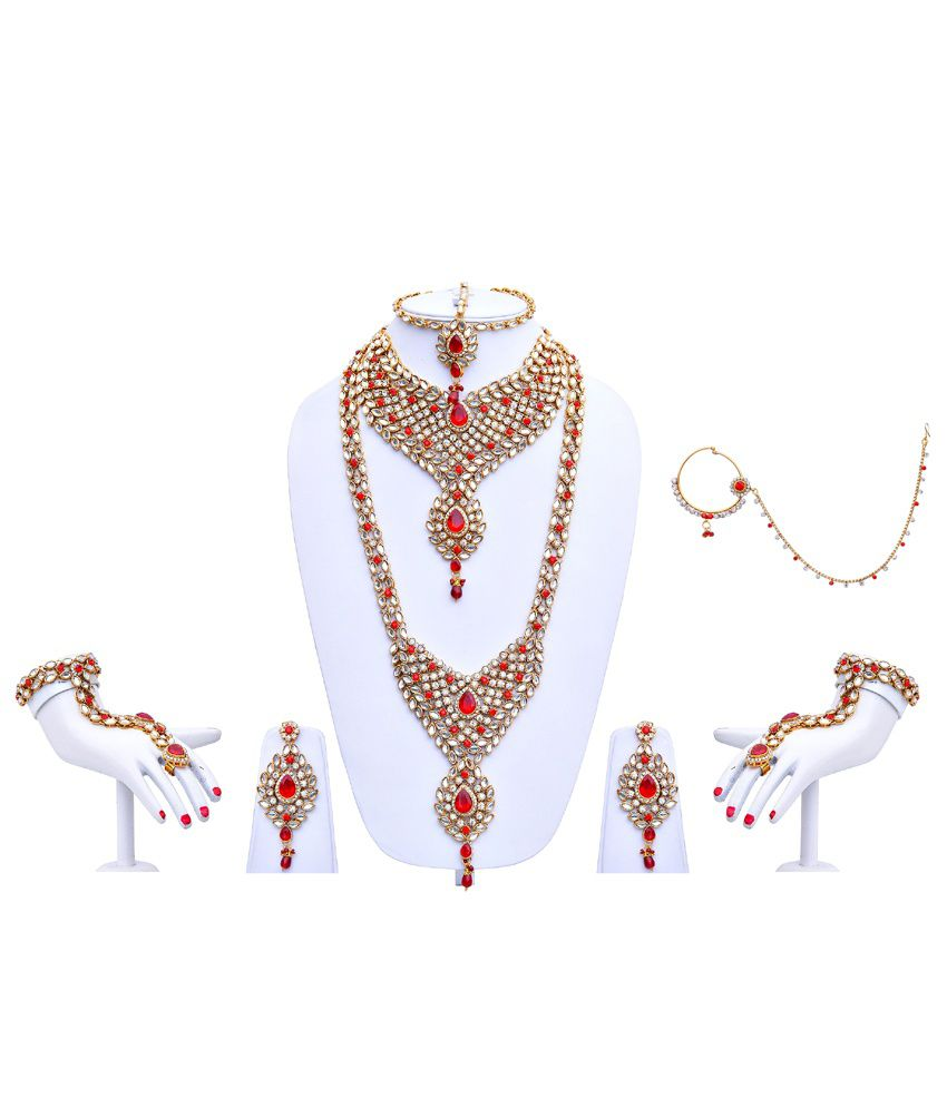 Lucky Jewellery Red Alloy Bridal Necklace Set