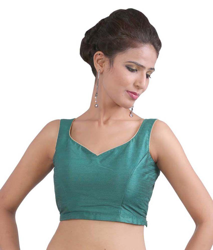 Abida Green Silk Blouses