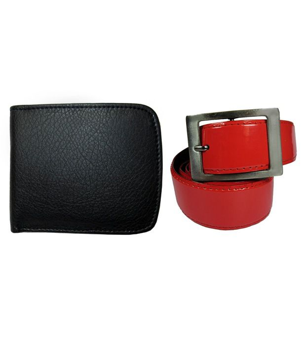 Apki Needs Red Casual Wear Belt With Black Wallet