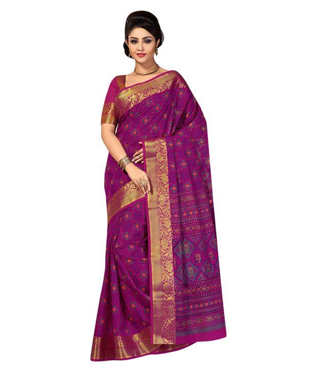 Simaaya Fashions Purple Cotton Saree