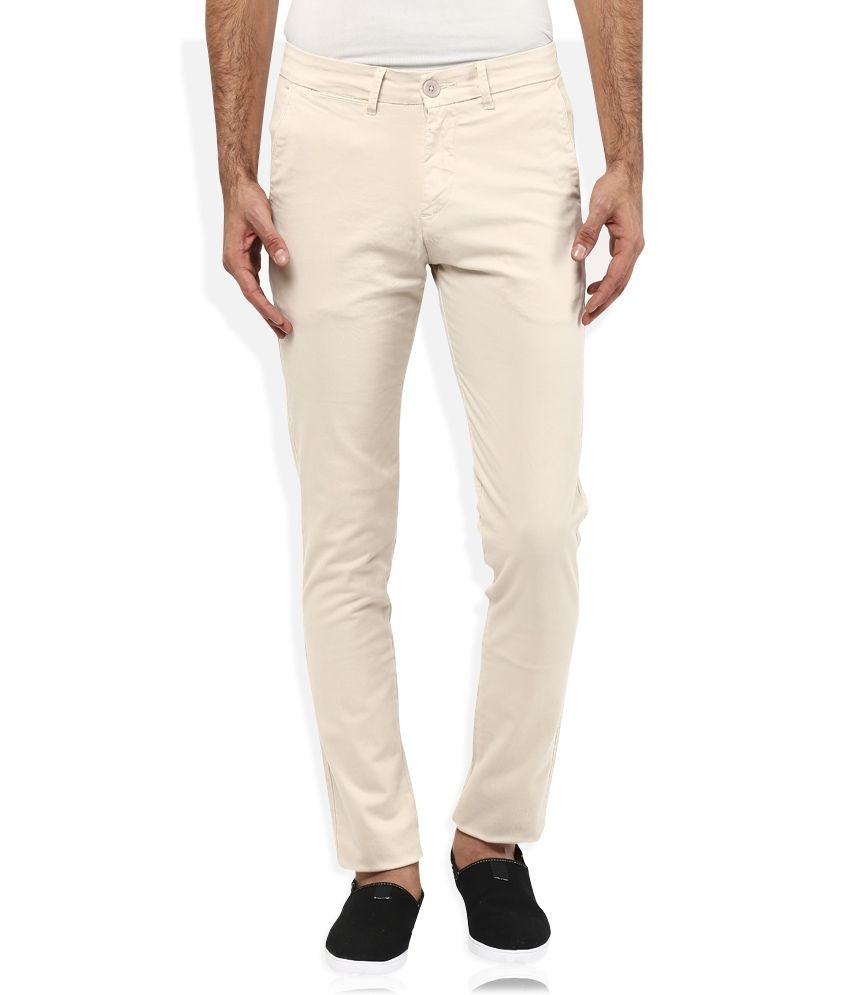 Spykar Beige Slim Fit Trousers