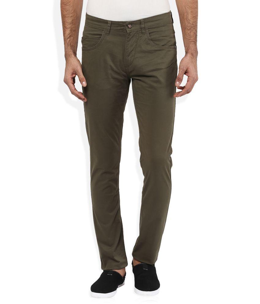 Spykar Brown Slim Flat Trouser