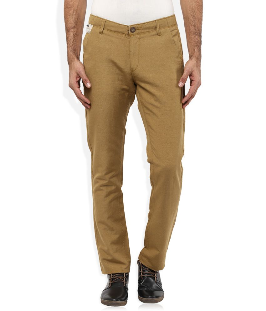 Spykar Olive Colour Solid Flat Front Trousers