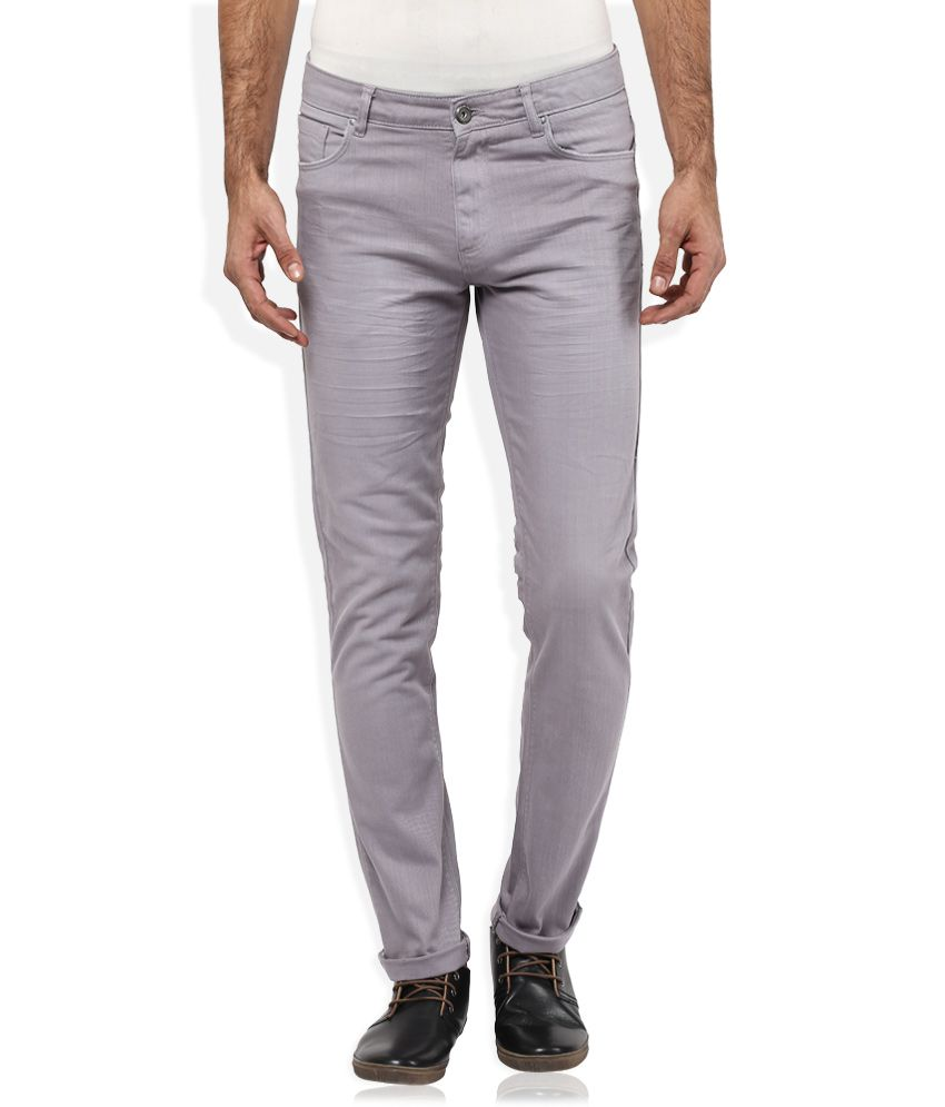 Spykar Grey Slim Fit Trousers