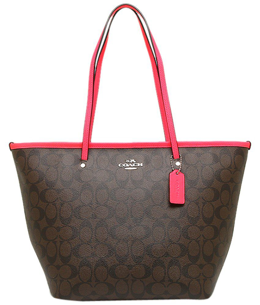 ab60a032e2d Coach Brown & Pink PU Tote Bag - Buy Coach Brown & Pink PU Tote Bag Online  at Best Prices in India on Snapdeal