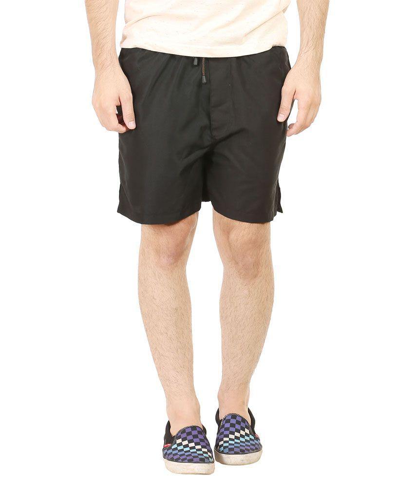 Plutus Black Polyester Shorts