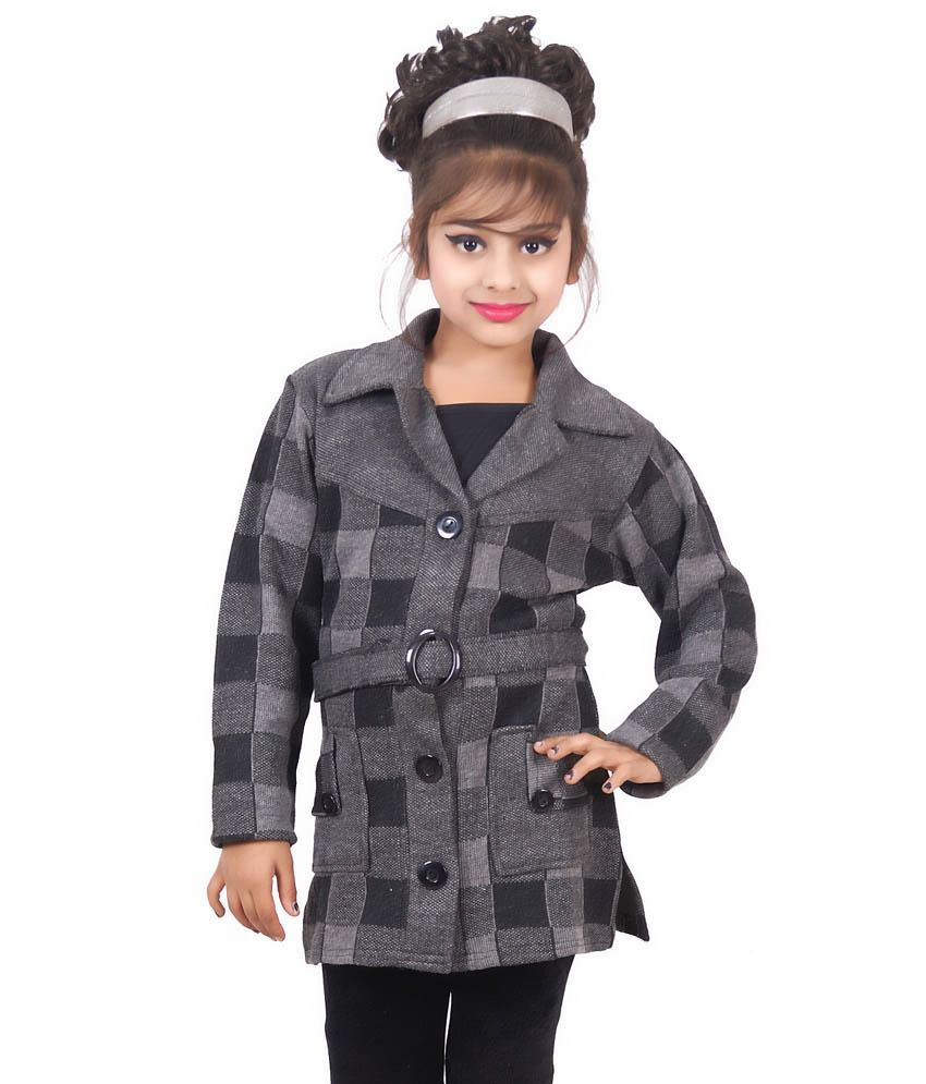Ahhaaaa Black Quilted Long Coat For Girls