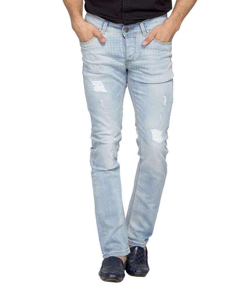Spykar Blue Distressed Slim Fit Jeans