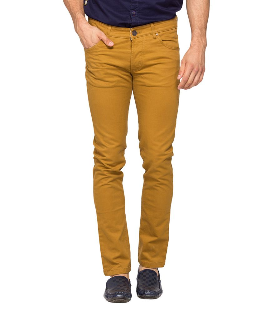 Spykar Brown Solid Flat Front Trousers